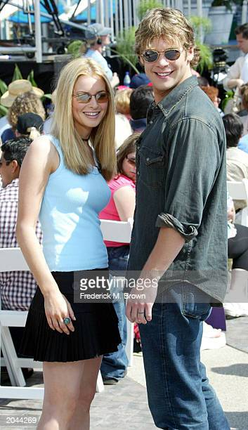 Actors Jessica Morris and Bruce Michael Hall attend the taping of the Soap Talk television show at the Golden State Amphitheatre Disney's California...