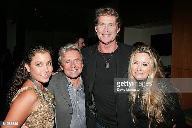 Actors Jessica Pacheco Davy Jones and David Hasselhoff and guest Michele Lilley attend the 2009 Pollstar Awards at the Nokia Theatre on January 30...