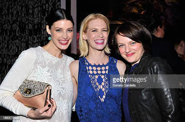 Actors Jessica Pare January Jones and Elisabeth Moss attend Chloe Los Angeles Fashion Show Dinner hosted by Clare Waight Keller January Jones and...