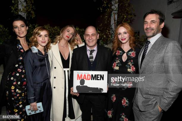 Actors Jessica Pare Kiernan Shipka January Jones creator/writer Matthew Weiner actors Christina Hendricks and Jon Hamm attend the launch for Matthew...