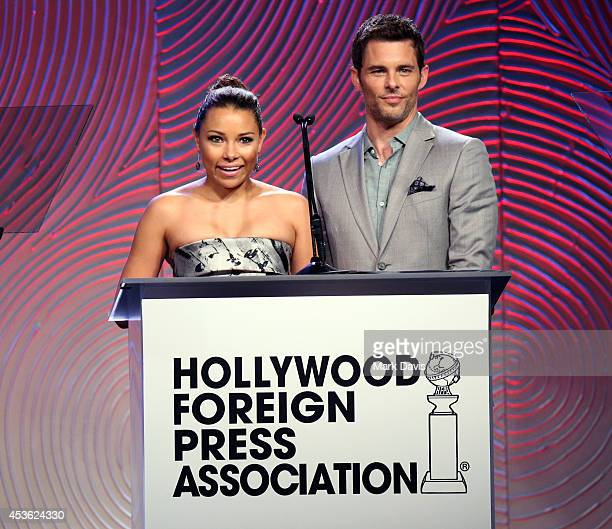 Actors Jessica Parker Kennedy and James Marsden speak onstage at the Hollywood Foreign Press Association's Grants Banquet at The Beverly Hilton Hotel...