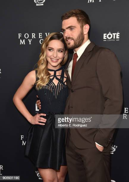 Actors Jessica Rothe and Alex Roe attend the premiere of Roadside Attractions' 'Forever My Girl' at The London West Hollywood on January 16 2018 in...