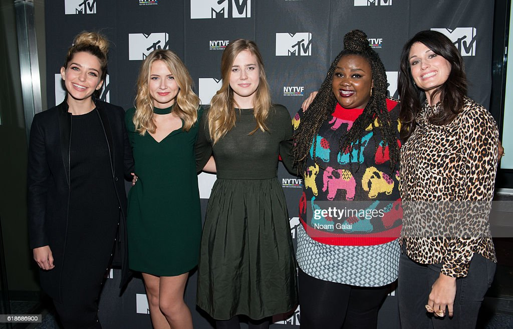 Actors Jessica Rothe, Eliza Bennett, Taylor Dearden, Nicole Byer and Scout Durwood attend 'The Struggle Is Real: Gender, Race, Entrepreneurship And The Women Of MTV' during the 12th Annual New York Television Festival at SVA Theater on October 27, 2016 in New York City.