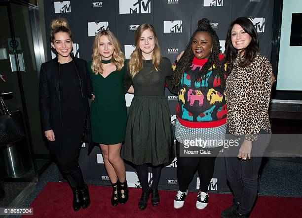 Actors Jessica Rothe Eliza Bennett Taylor Dearden Nicole Byer and Scout Durwood attend 'The Struggle Is Real Gender Race Entrepreneurship And The...