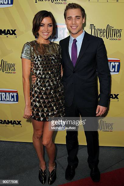 """Actors Jessica Stroup and Dustin Milligan arrive at the Los Angeles premiere of """"Extract"""" held at the ArcLight Hollywood on August 24, 2009 in..."""