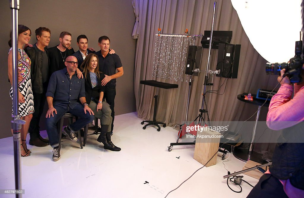 Actors Jessica Stroup, Kevin Bacon, Shawn Ashmore, Sam Underwood, producer Kevin Williamson, (Front Row L-R) director Marcos Siega, and producer Jennifer Johnson attend the Samsung Galaxy VIP Lounge during Comic-Con International 2014 at Hard Rock Hotel San Diego on July 27, 2014 in San Diego, California.