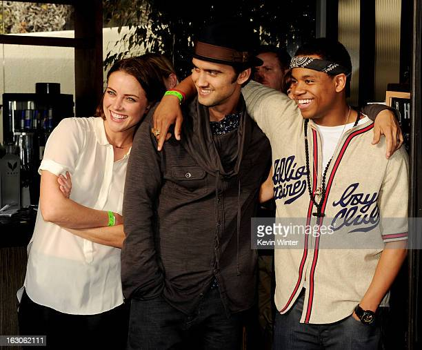 Actors Jessica Stroup Michael Steger and Tristan Wilds appear at the CW Network's 90210 Season 5 Wrap Party on March 3 2013 in Los Angeles California