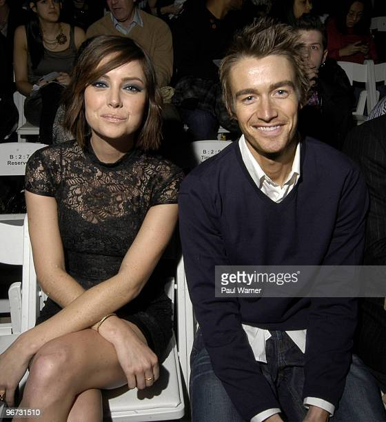 Actors Jessica Stroup of '90215' and Robert Buckley of 'One Tree Hill' attend Perry Ellis Fall 2010 during MercedesBenz Fashion Week at Bryant Park...