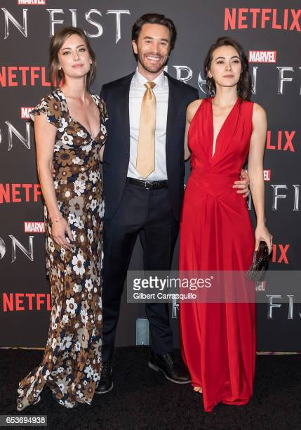 Actors Jessica Stroup Tom Pelphrey and Jessica Henwick attend Marvel's 'Iron Fist' New York Screening at AMC Empire 25 on March 15 2017 in New York...