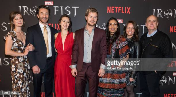 Actors Jessica Stroup Tom Pelphrey Jessica Henwick Finn Jones Rosario Dawson Marvel's 'Iron Fist' executive producer Allie Goss and Marvel's Head of...