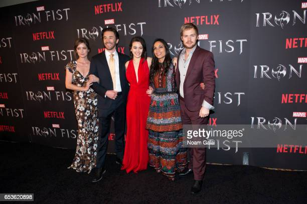 Actors Jessica Stroup Tom Pelphrey Jessica Henwick Rosario Dawson and Finn Jones attend Marvel's Iron Fist New York screening at AMC Empire 25 on...