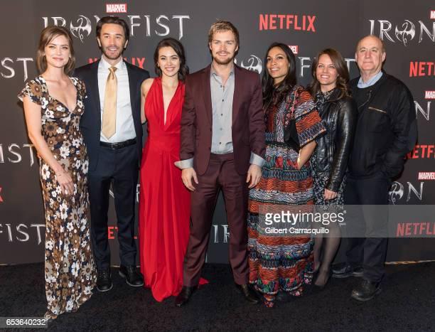 Actors Jessica Stroup Tom Pelphrey Jessica Henwick Rosario Dawson Finn Jones Marvel's Iron Fist executive producer Allie Goss and Marvel's Head of...