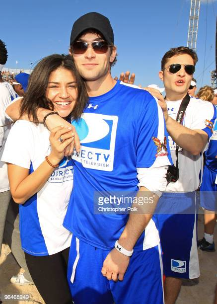 Actors Jessica Szohr and Chace Crawford attend the Fourth Annual DIRECTV Celebrity Beach Bowl at DIRECTV Celebrity Beach Bowl Stadium South Beach on...
