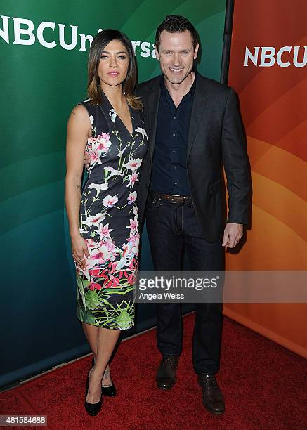 Actors Jessica Szohr and Jason O'Mara arrive at NBCUniversal's 2015 Winter TCA Tour Day 1 at The Langham Huntington Hotel and Spa on January 15 2015...