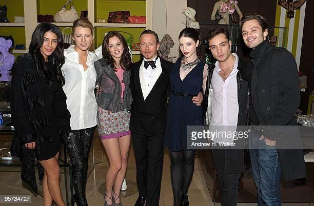 Actors Jessica Szohr Blake Lively Leighton Meester costume designer Eric Daman and actors Michelle Trachtenberg Ed Westwick and Sebastian Stan attend...