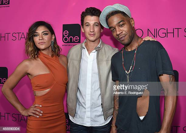 Actors Jessica Szohr Miles Teller and Scott Mescudi arrive to the premiere of eOne Films' Two Night Stand at the TCL Chinese 6 Theatres on September...
