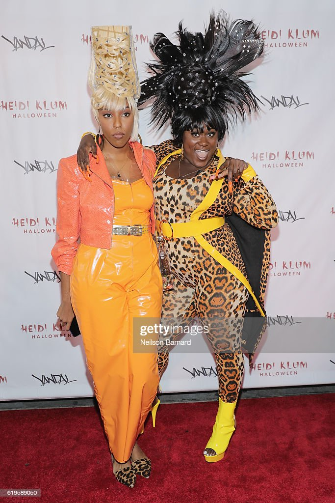 Actors Jessica Williams and Danielle Brooks attend Heidi Klum's 17th Annual Halloween Party sponsored by SVEDKA Vodka at Vandal on October 31, 2016 in New York City.
