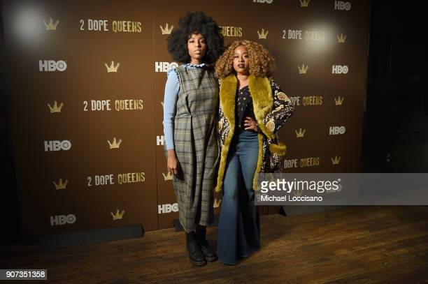Actors Jessica Williams and Phoebe Robinson attend HBO's '2 Dope Queens' Winter Soiree during Sundance at Riverhorse On Main on January 19 2018 in...