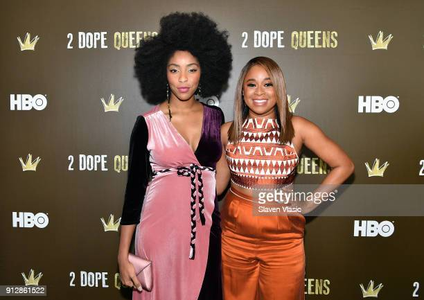 Actors Jessica Williams and Phoebe Robinson attend HBO's '2 Dope Queens' NYC slumber party premiere at Public Arts on January 31 2018 in New York City
