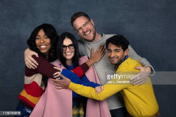 Actors Jessica Williams Demi Moore director Patrick Brice and Karan Soni from 'Corporate Animals' are photographed for Los Angeles Times on January...