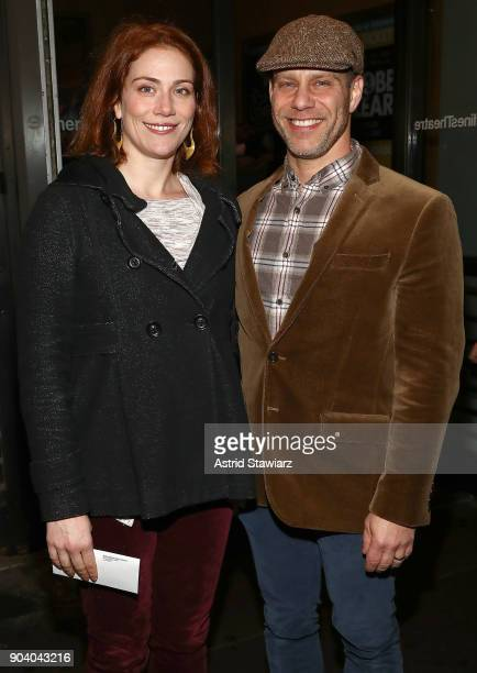 Actors Jessie Austrian and Noah Brody attend opening night of 'John Lithgow Stories By Heart' at American Airlines Theatre on January 11 2018 in New...