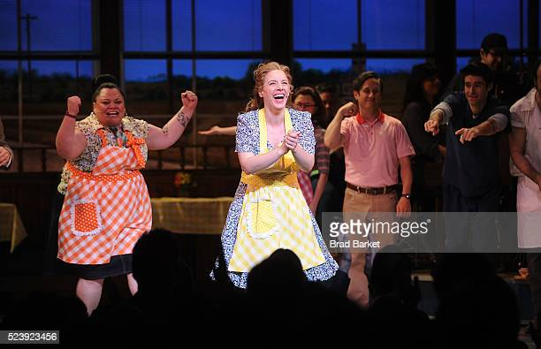 Actors Jessie Mueller Keala Settle Kimiko Glenn attends Waitress Broadway opening night curtain call at The Brooks Atkinson Theatre on April 24 2016...