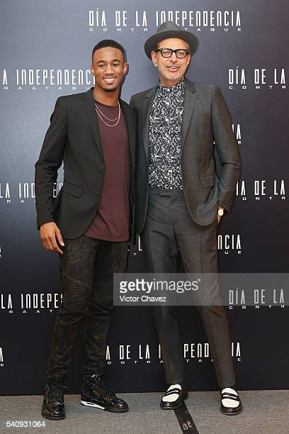 Actors Jessie T Usher and Jeff Goldblum attend a photocall and press conference to promote the new film 'Independence Day Resurgence' at Four Seasons...