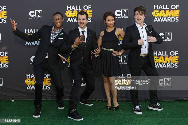Actors Jessie Usher Gaelan Connell Aimee Carrero and Connor Del Rio arrives at the 3rd Annual Cartoon Network's 'Hall Of Game' Awards held at Barker...
