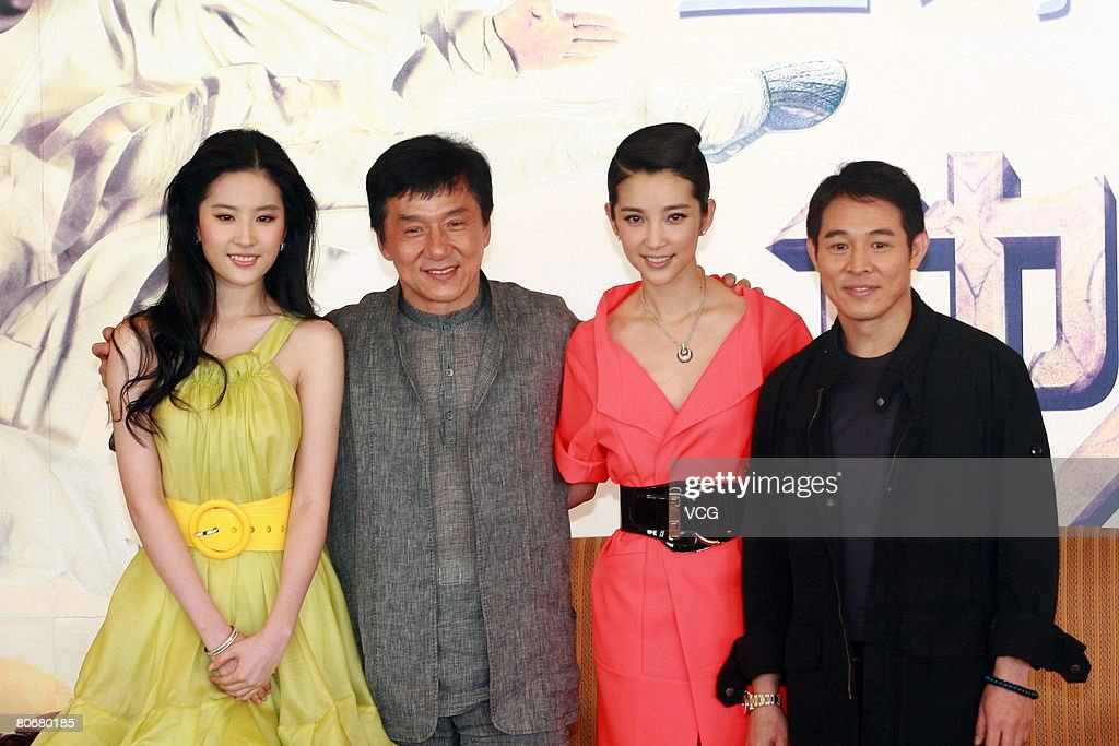 Actors Jet Li (R), Jackie Chan (2nd L), actress Yifei Liu (L) and Bingbing Li pose at the premiere of 'The Forbidden Kingdom' on April 15, 2008 in Beijing, China. (Photo by Zhao Wei/VCG via Getty Images)392359988