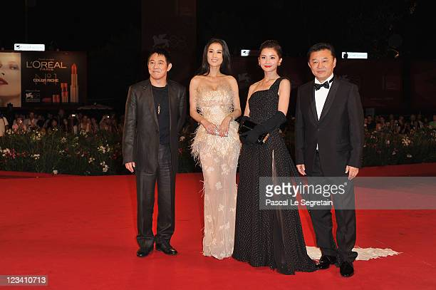 "Actors Jet Li, Shengyi Huang, Charlene Choi and director Siu-Tung Ching attend the ""The Sorcerer And The White Snake"" premiere during the 68th Venice..."