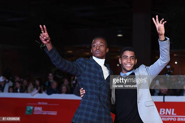 Actors Jharrel Jerome and Ashton Sanders walk a red carpet for 'Moonlight' on October 13 2016 in Rome Italy