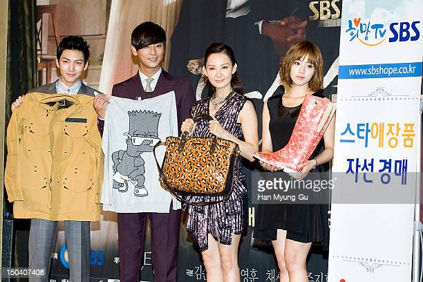 Actors Ji ChangWook Ju JiHoon Chae SiRa and EunJung of South Korean girl group Tara attend during a press conference to promote the SBS drama 'Five...