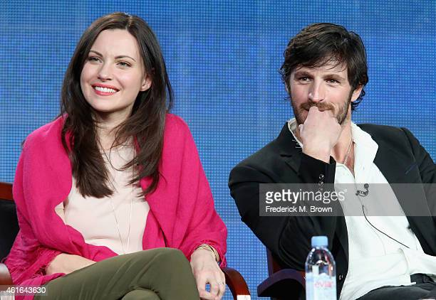 Actors Jill Flint and Eoin Macken speak onstage during the 'The Night Shift' panel discussion at the NBC/Universal portion of the 2015 Winter TCA...