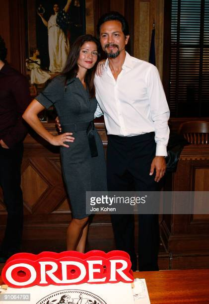 Actors Jill Hennessy and Benjamin Bratt attends the 'Law Order' 20th Season kickoff celebration at the Law Order Studio at Chelsea Piers on September...