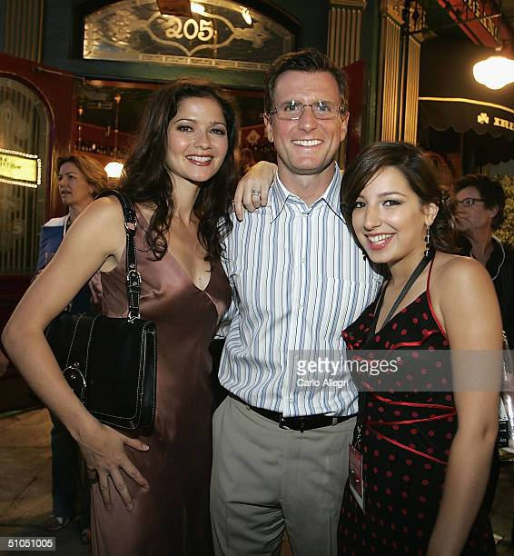 Actors Jill Hennessy and Vanessa Lengies talk to NBC exec Kevin Reilly at the NBC TCA All Star Party at Univeral Studios July 11 2004 in Los Angeles...