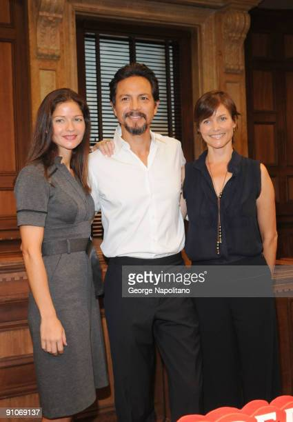 Actors Jill Hennessy Benjamin Bratt and Carey Lowel attend the Law Order 20th Season kickoff celebration at the Law Order Studio At Chelsea Piers on...