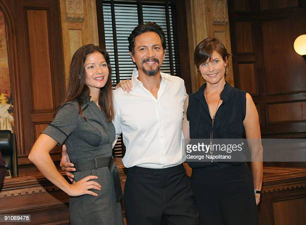 Actors Jill Hennessy Benjamin Bratt and Carey Lowel attend the ''Law Order'' 20th Season kickoff celebration at the Law Order Studio At Chelsea Piers...