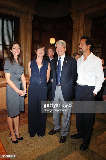 Actors Jill Hennessy Carey Lowel Sam Waterston and Benjamin Bratt attend the ''Law Order'' 20th Season kickoff celebration at the Law Order Studio At...