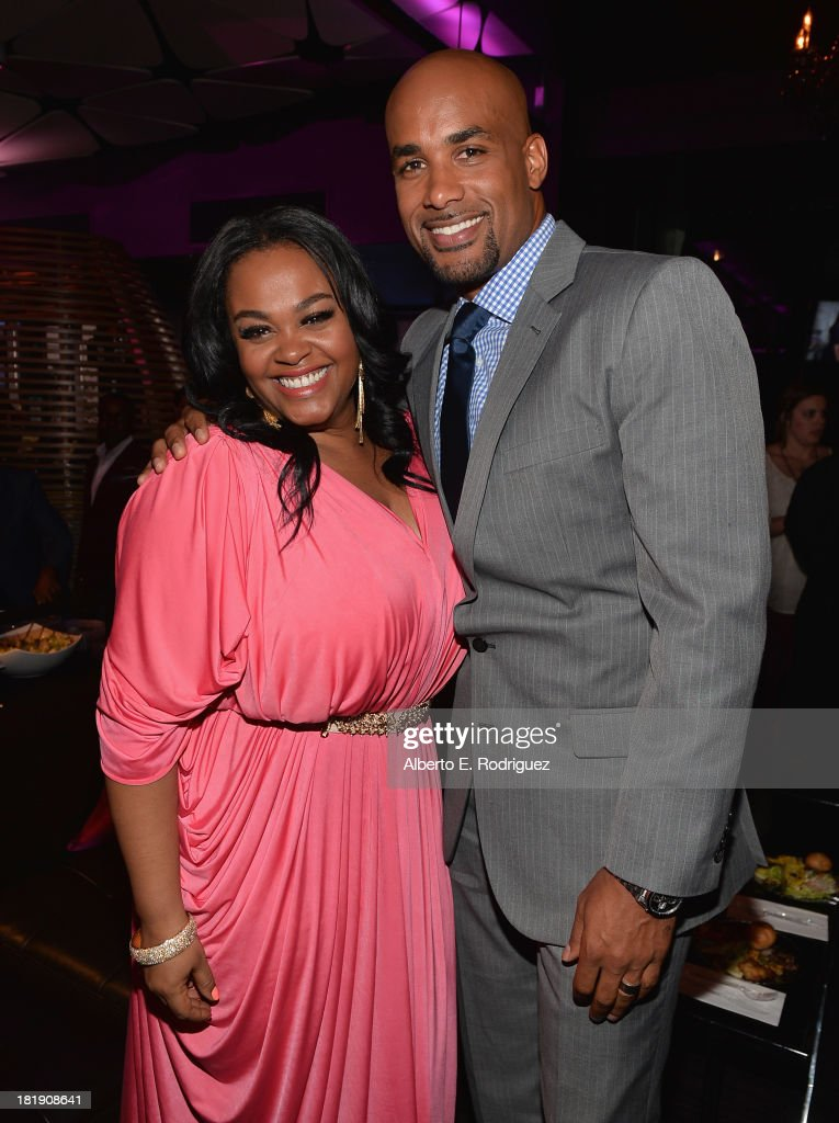 Actors Jill Scott and Boris Kodjoe attend the after party for the premiere of Fox Searchlight Pictures' 'Baggage Claim' at the Conga Room on September 25, 2013 in Los Angeles, California.