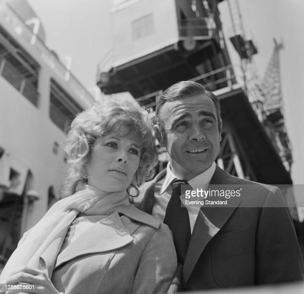Actors Jill St John and Sean Connery on the set of the James Bond film 'Diamonds Are Forever', UK, 1971.