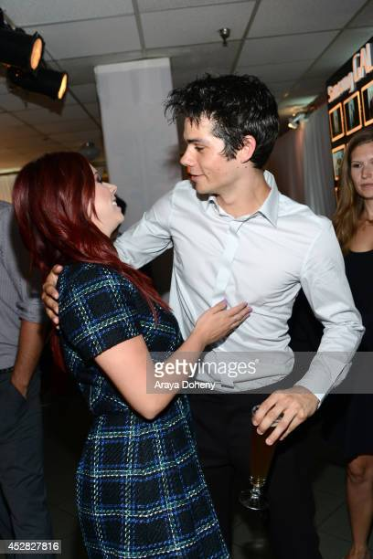 Actors Jillian Rose Reed and Dylan O'Brien attend the 2014 Young Hollywood Awards brought to you by Mr Pink held at The Wiltern on July 27 2014 in...