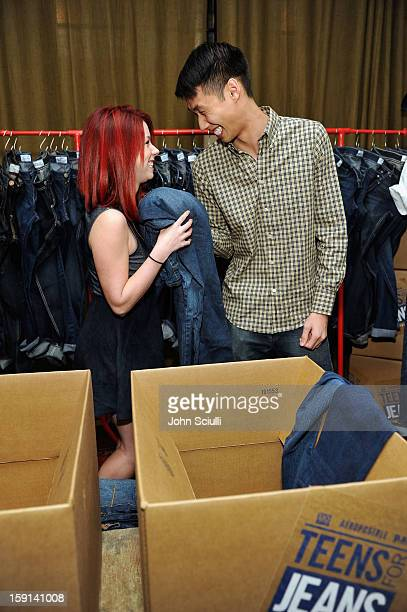 Actors Jillian Rose Reed and Kelly Sry attend the DoSomethingorg and Aeropostale launch of the 6th annual Teens For Jeans hosted by Chloe Moretz at...