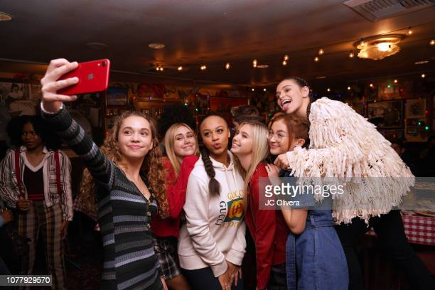 Actors Jillian Shea Spaeder Lia Buckingham Nia Sioux Emily Skinner Anna Cathcart and Sky Katz attend YSBNow Holiday Dinner and Toy Drive at Buca di...