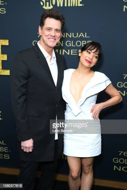 Actors Jim Carrey and Ginger Gonzaga attends the Showtime Golden Globe Nominees Celebration at Sunset Tower Hotel on January 05 2019 in West...