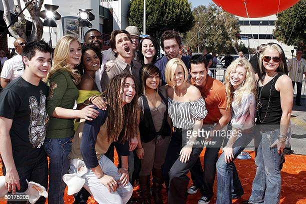 """Actors Jim Carrey and Jenny McCarthy pose with the """"American Idol"""" contestants at the world premiere of 20th Century Fox's """"Horton Hears a Who!"""" at..."""