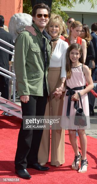 Actors Jim Carrey Jane Fonda and granddaughter Viva Vadim attend Fonda's Handprint/Footprint Ceremony during the 2013 TCM Classic Film Festival at...
