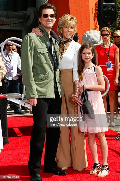 Actors Jim Carrey Jane Fonda and her granddaughter Viva Vadim attend Jane Fonda's hand and footprint ceremony at TCL Chinese Theatre on April 27 2013...