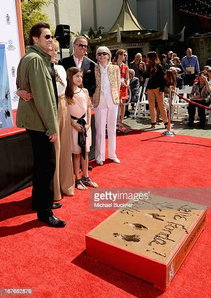 Actors Jim Carrey Jane Fonda Viva Vadim Peter Fonda Troy Garity and Shirlee Mae Adams attend actress Jane Fonda's Handprint/Footprint Ceremony during...