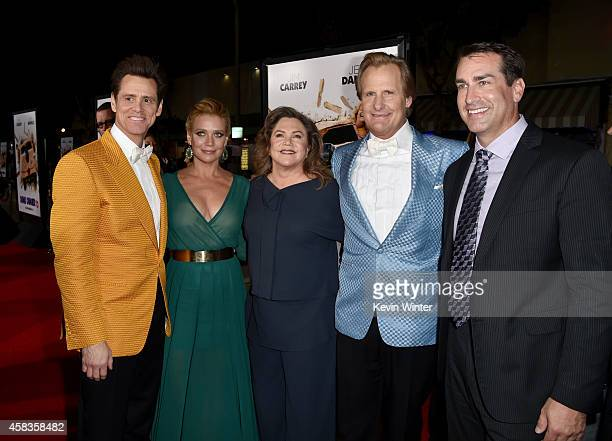 Actors Jim Carrey Laurie Holden Kathleen Turner Jeff Daniels and Rob Riggle attend the premiere of Universal Pictures and Red Granite Pictures' 'Dumb...