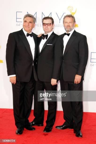 Actors Jim Carter Brendan Coyle and Hugh Bonneville arrives at the 64th Primetime Emmy Awards at Nokia Theatre LA Live on September 23 2012 in Los...